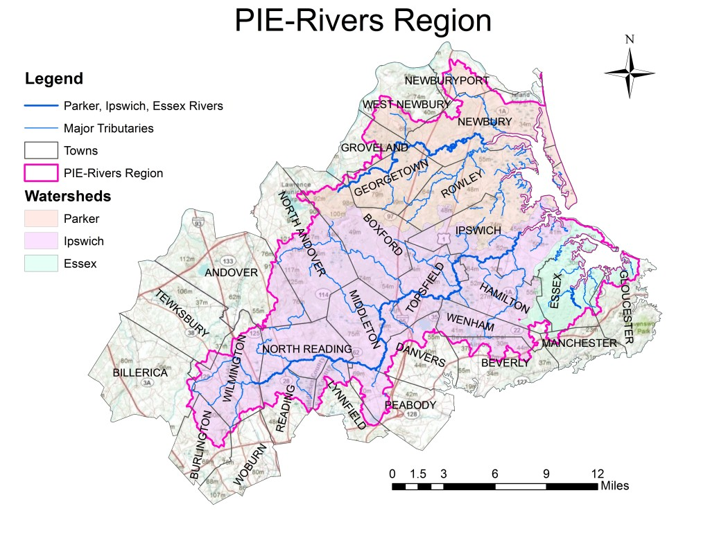 The Parker-Ipswich-Essex (PIE) Rivers region includes 3 watersheds and 28 towns that fall within all or in part within the 257 square mile area. Our new Municipal Services Program will support the 28 cities and towns we work with in these watersheds.