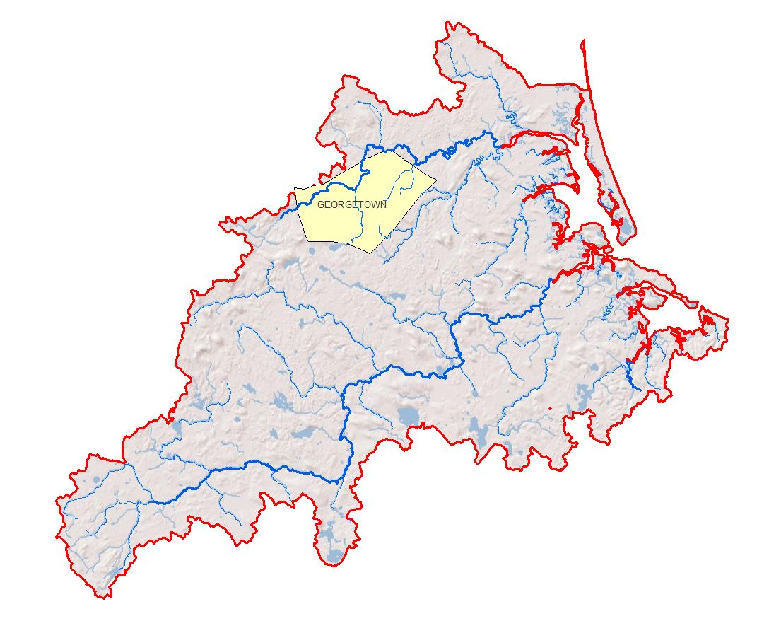 Location of the Town of Georgetown within the PIE-Rivers region