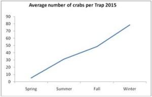 Green crabs per trap graph