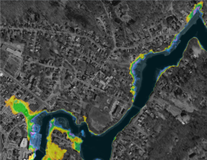 Image of impacts of sea level rise on Downtown Ipswich in 2070. For maps of Ipswich and other area towns, Click Here.