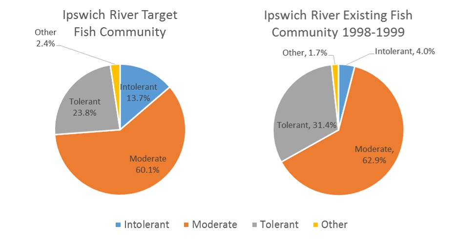 Target and existing fish community composition based on species pollution tolerance for the Ipswich River watershed.