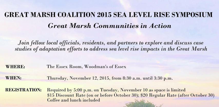 2015 Sea Level Rise Symposium [11/12/2015 – Registration Required]