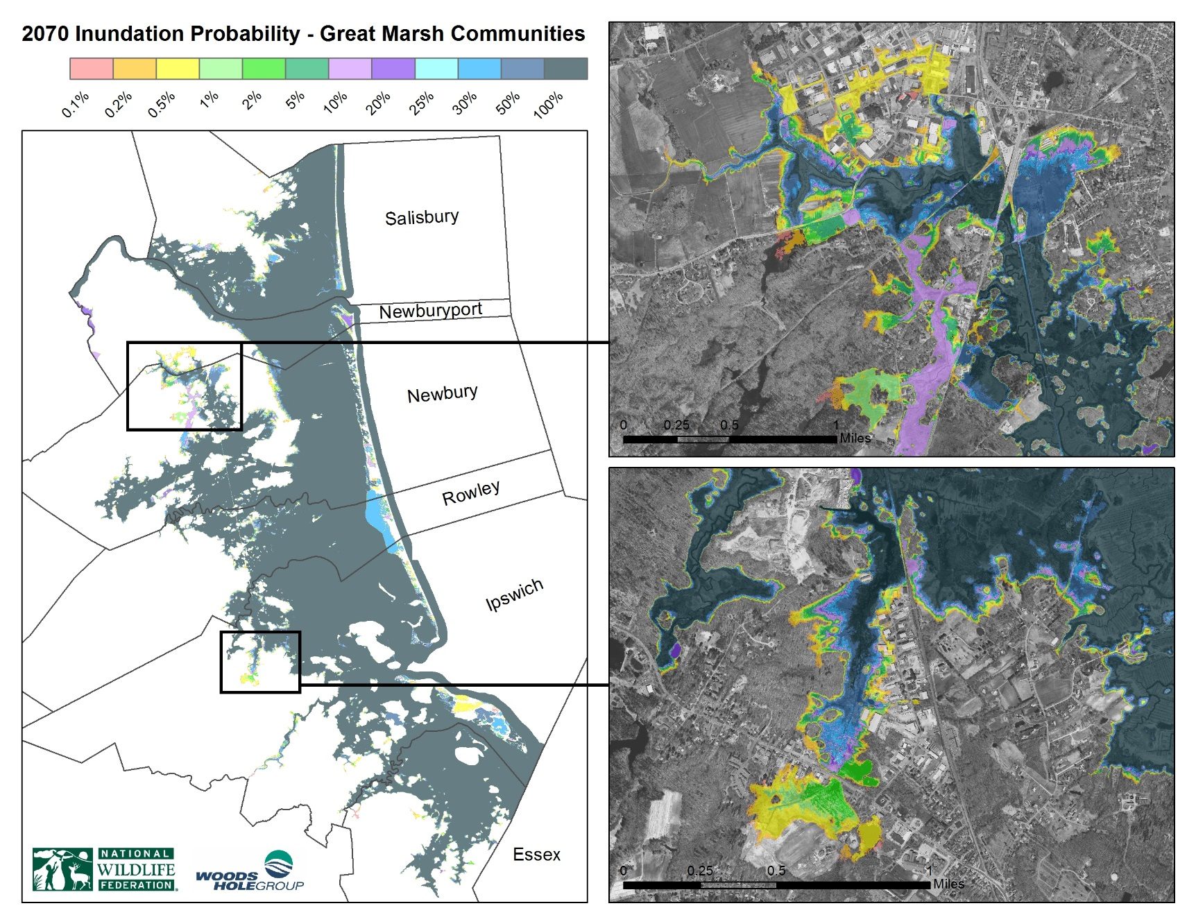 New Maps Produced By The Environmental Consulting Firm Woods Hole Group Will Provide The Great Marsh Resiliency Planning Project With Cutting Edge, Fine-scaled Flooding And Sea Level Rise Scenarios In Essex County.