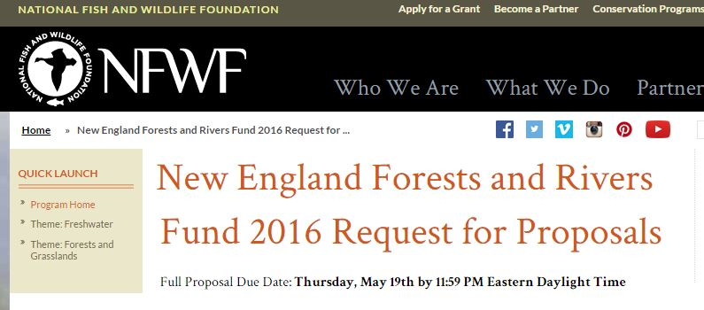 New England Forests And Rivers Fund – 2016 RFP [Closes 5/19/2016]