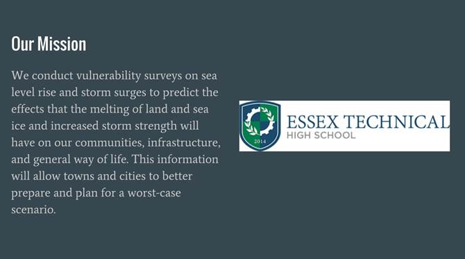 Students From Essex Technical High School Presented On The Impacts Of Sea Level Rise And Storm Surge On Essex County Towns, And Recommended Practical Steps To Limit Them.